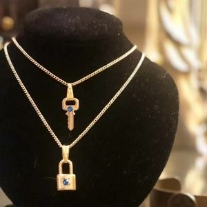 Authentic Louis Vuitton Lock & Key Set Necklaces